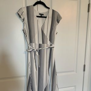 White and navy striped wrap dress